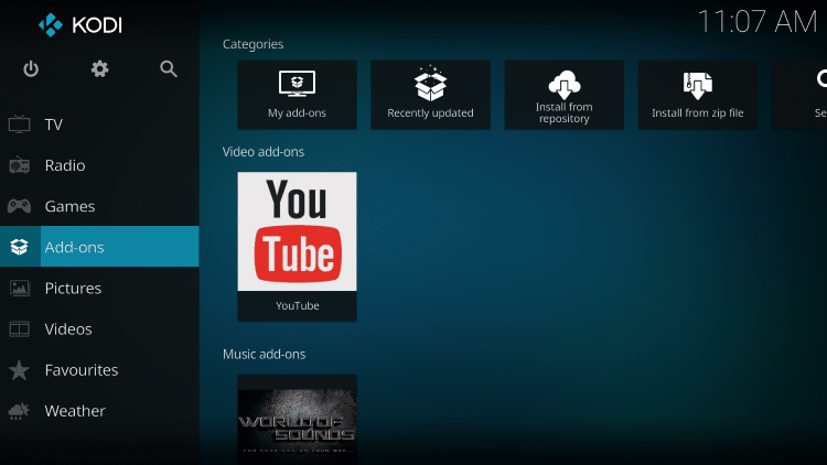 Once the add-on has been installed go back to the Home screen of Kodi. Click Add-ons