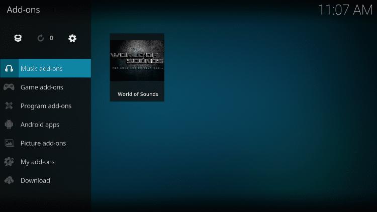 Select Music add-ons
