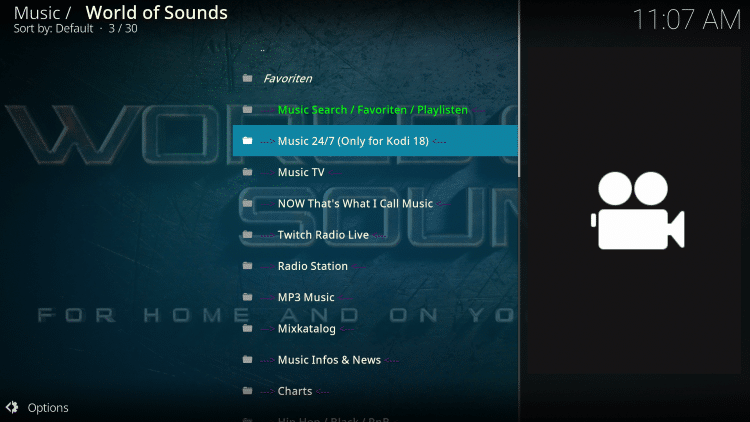 World of Sounds is one of the best Kodi Music add-ons available