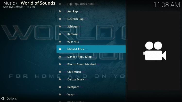 world of sounds kodi addon categories