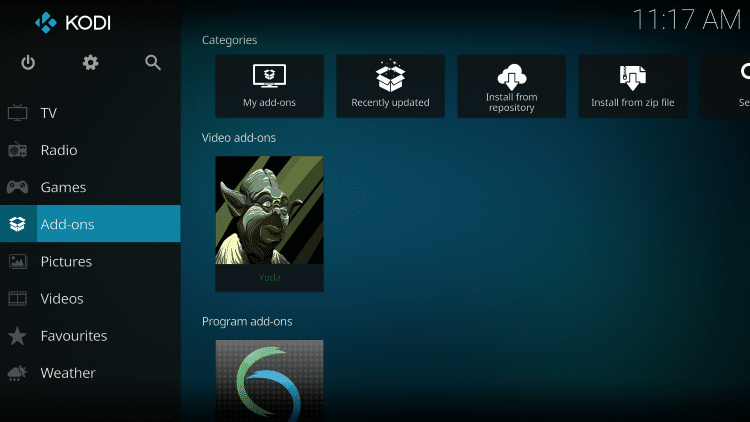 Once The Yoda Video add-on has been installed go back to the Home screen of Kodi