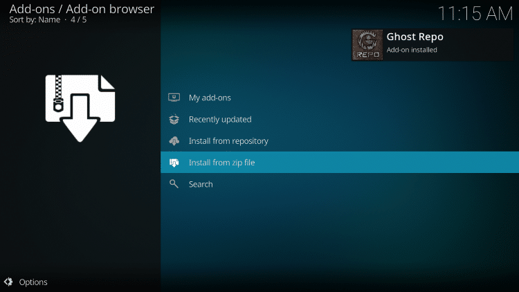 """Wait for the """"Ghost Repo Add-on installed"""" message to appear"""
