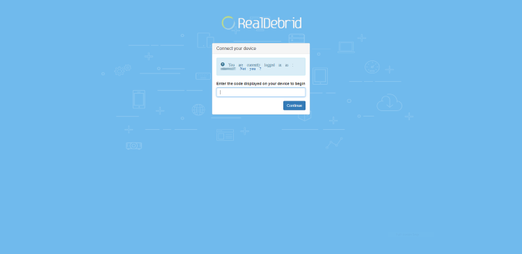 Open an Internet browser on another device and go to https://real-debrid.com/device.