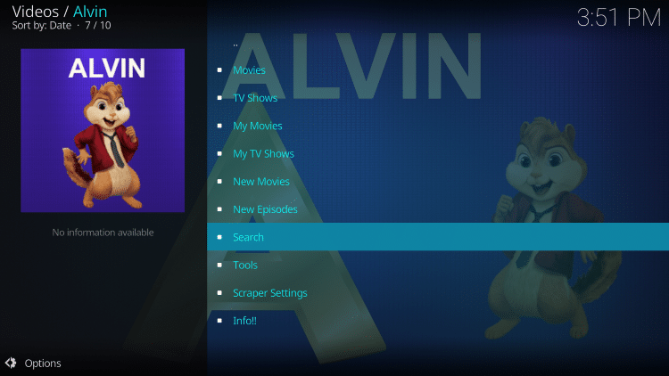 Return back to Alvin and select Search.