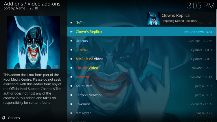 we have included Clowns Replica in the TROYPOINT's Best Kodi Add-ons List.