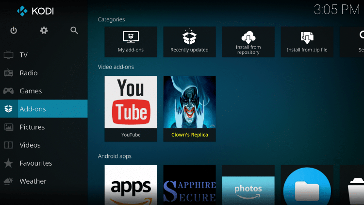 Once the Clowns Replica Video add-on has been installed go back to the Home screen of Kodi. Click Add-ons