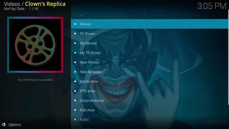 That's it! The Clowns Replica Kodi add-on is now successfully installed.