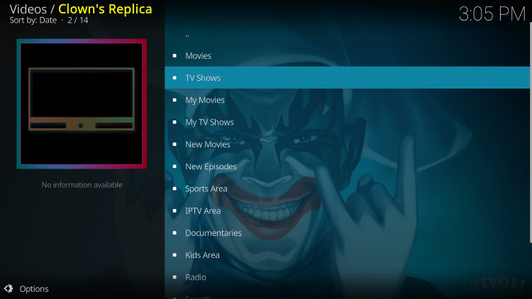 Launch the Clowns Replica Kodi Addon