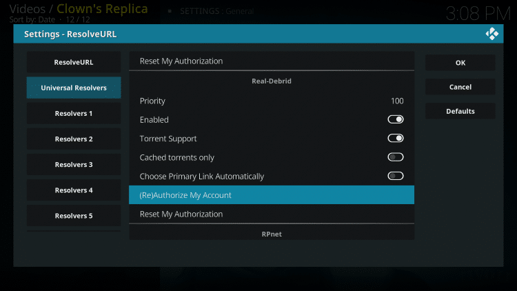 Within the Universal Resolvers menu on the left, scroll down and select (Re)Authorize My Account under Real-Debrid
