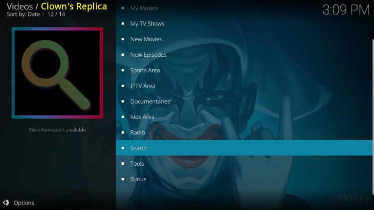 Return back to Clowns Replica and select Search.