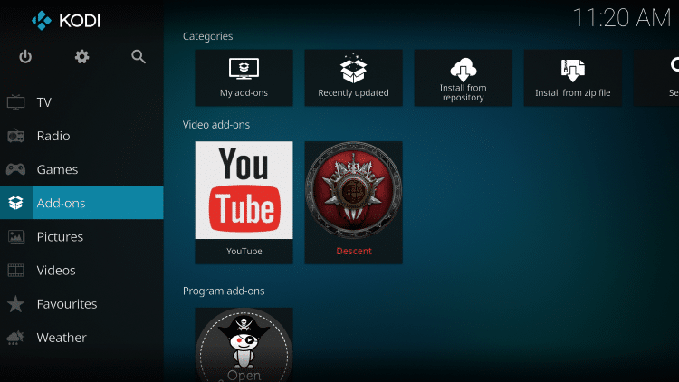 Once the Descent Video add-on has been installed go back to the Home screen of Kodi.