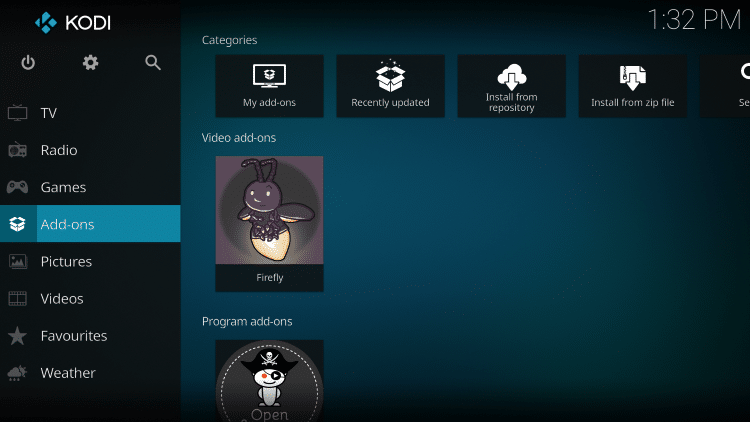 Once the Firefly Video add-on has been installed go back to the Home screen of Kodi. Click Add-ons