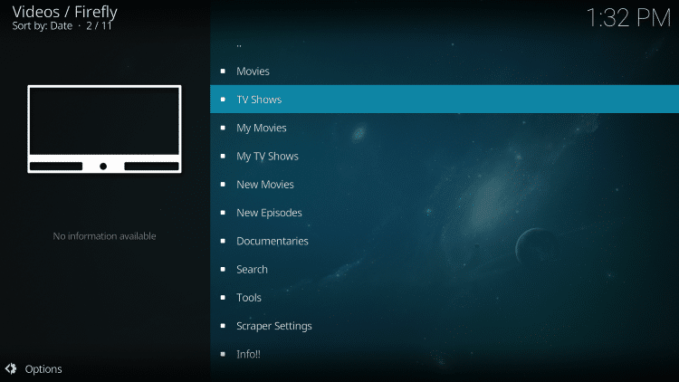 Launch the Firefly Kodi Addon.