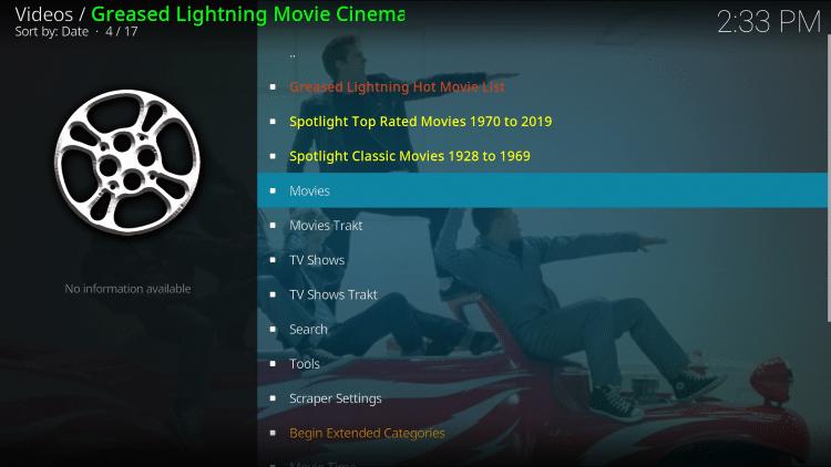Launch the Grease Lightning Kodi Addon.