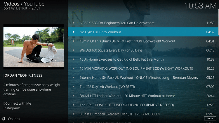 health and fitness kodi addon workouts
