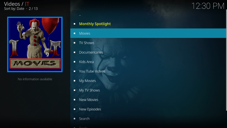 Launch the IT Kodi Addon.