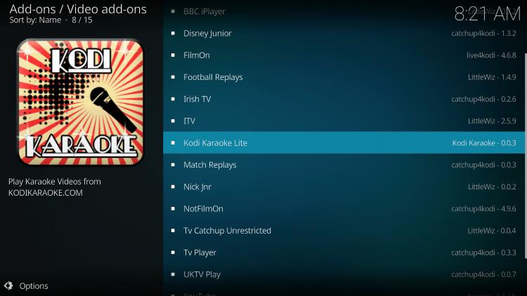Select Kodi Karaoke Lite