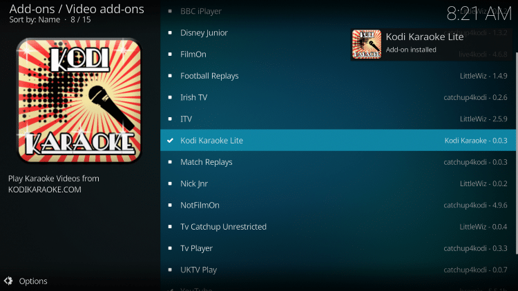 Wait a minute or two for the Kodi Karaoke Lite add-on to install