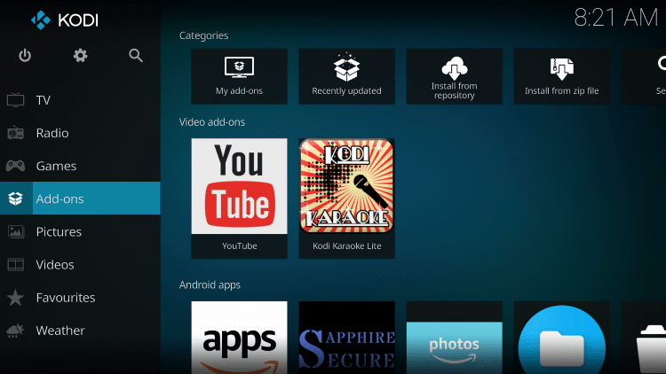 Once the Kodi Karaoke Lite add-on has been installed go back to the Home screen of Kodi. Click Add-ons