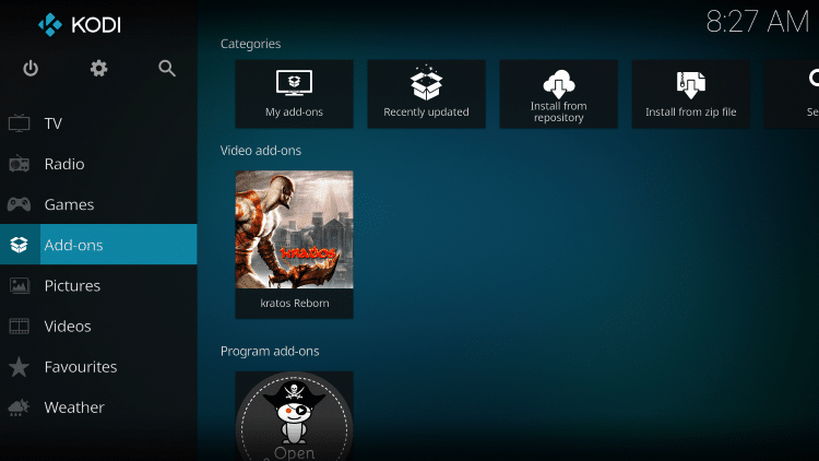 Once The Kratos Reborn Video add-on has been installed go back to the Home screen of Kodi.