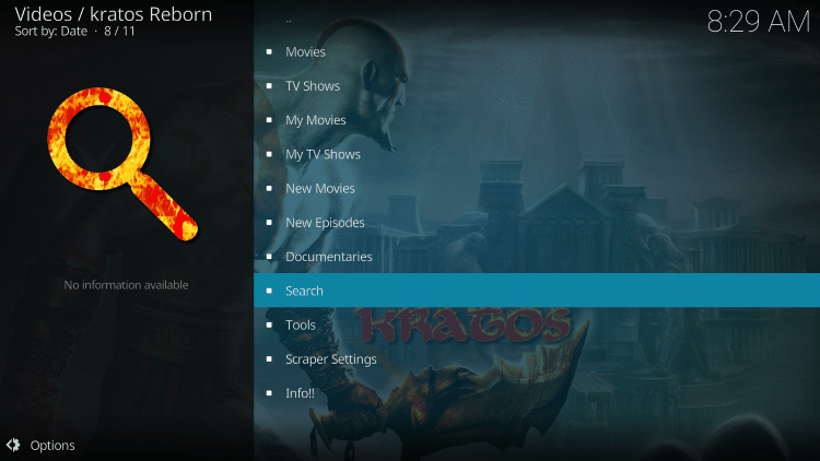 Return back to Kratos Reborn and search for a Movie or TV Show. Select Search at the bottom of the main screen.