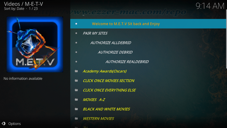 Installation of the METV Kodi addon is now complete.