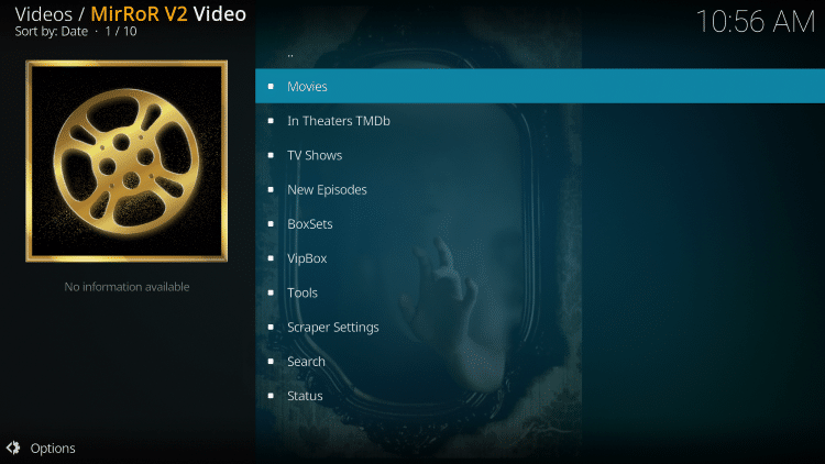 Launch the Mirror Kodi Addon.