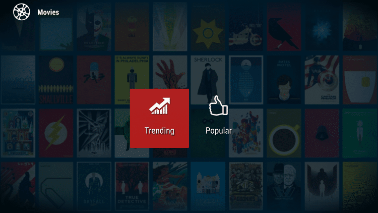 You will notice that the only categories to choose from within the Movies menu are Trending and Popular.