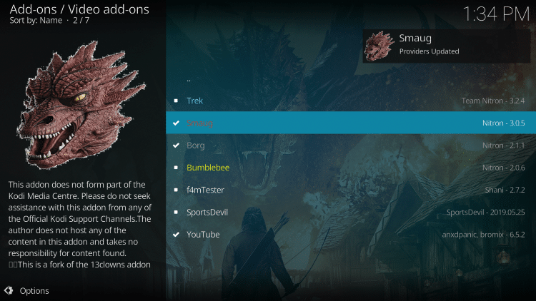 Wait a minute or two for the Smaug Kodi add-on to install