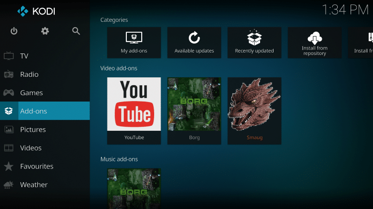Once the Smaug Video add-on has been installed go back to the Home screen of Kodi