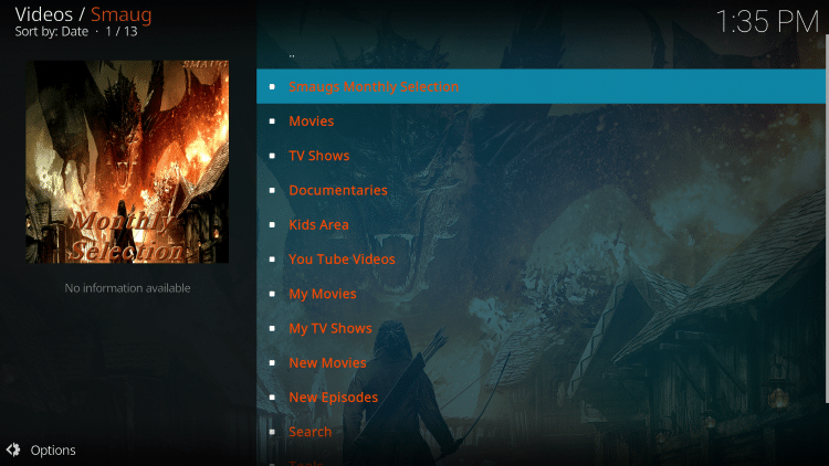 That's it! The Smaug Kodi add-on is now successfully installed.