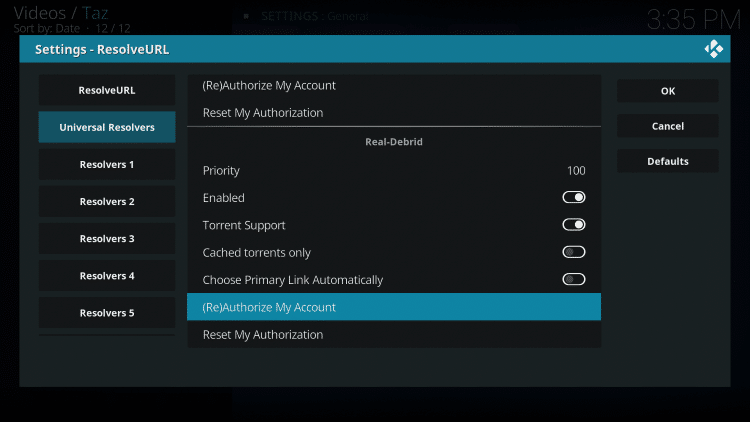 Within the Universal Resolvers menu on the left, scroll down and select (Re)Authorize My Account under Real-Debrid.