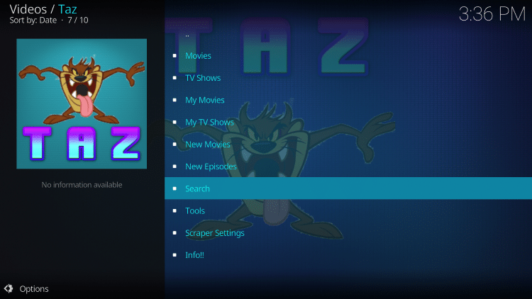 Return back to TAZ and select Search.
