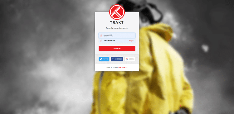Go to trakt.tv/activate to enter provided code and click Continue
