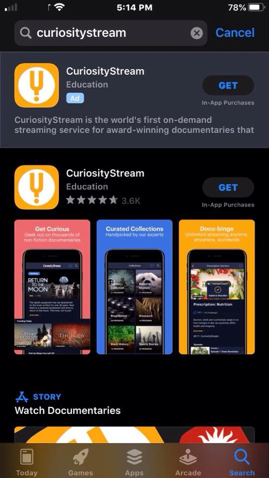 Step 1 - How to Install CuriosityStream on iOS