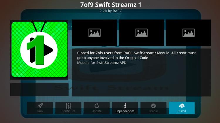 Step 25 - How to Install 7of9 Swift StreamZ Kodi Addon