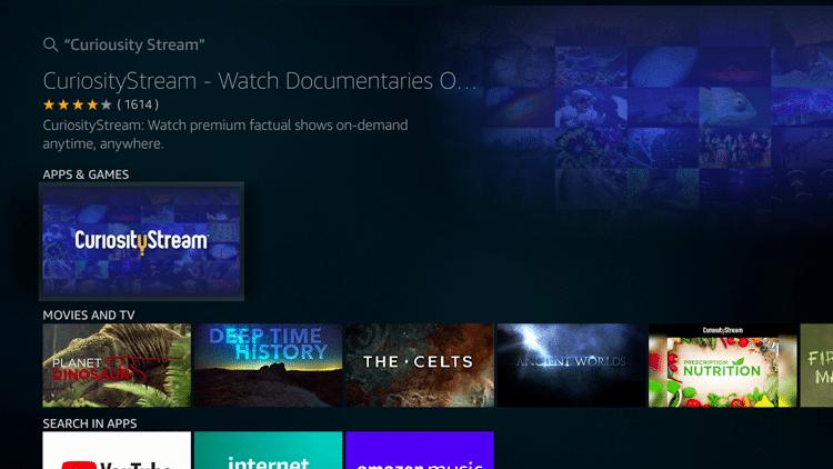 Step 3 - How to Install CuriosityStream on Firestick:Fire TV