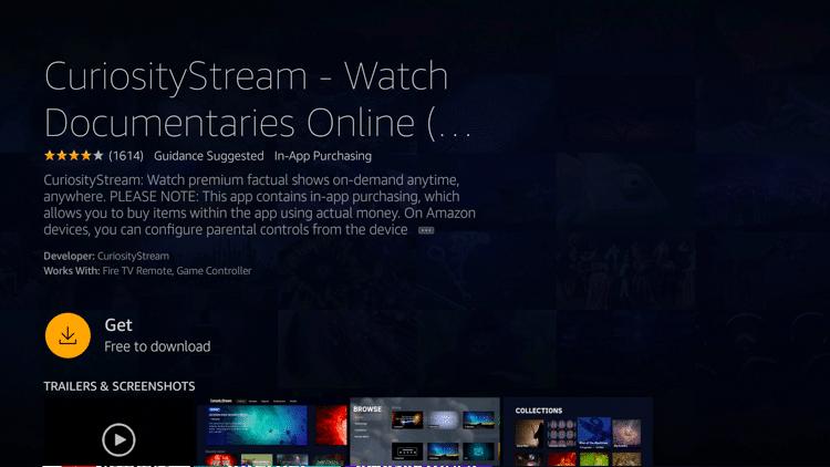 Step 4 - How to Install CuriosityStream on Firestick:Fire TV