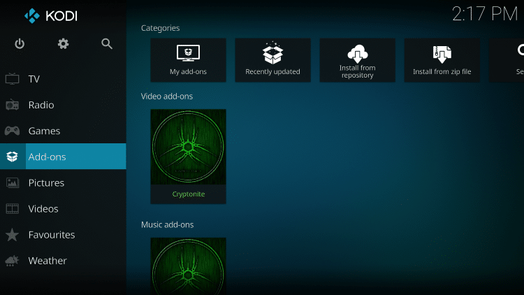 Once the Cryptonite Video add-on has been installed go back to the Home screen of Kodi. Click Add-ons