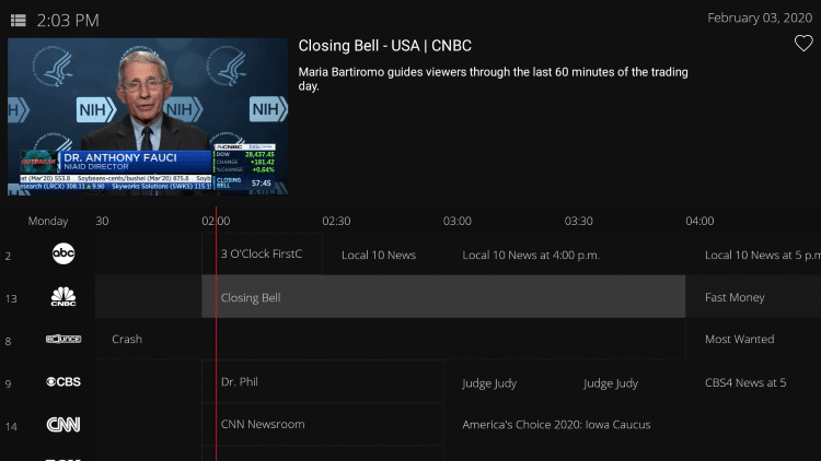 After choosing your Live TV category, hover over your preferred channel and hold down the OK button on your remote.