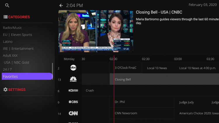 """To view your Favorites click the back button on your remote. Then scroll down and locate the """"Favorites"""" category."""
