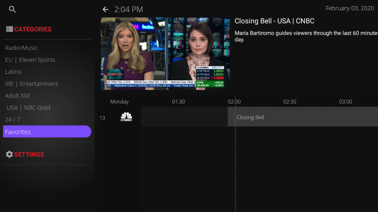 Notice your selected channel is now located within your Favorites.