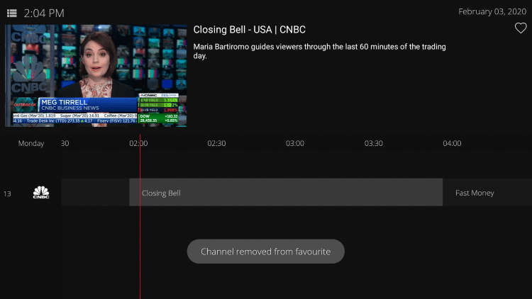 To remove a channel from your Favorites, simply hover over the channel and hold down the OK button on your remote.