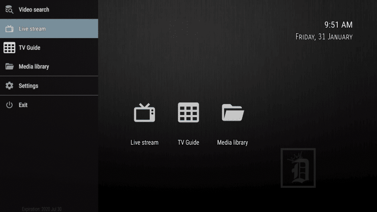 On the Dynasty TV Home screen, click left on your remote and select Live Stream within the menu.