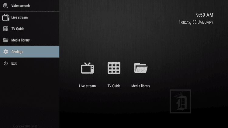Open Dynasty TV, then on the left menu scroll down and select Settings.