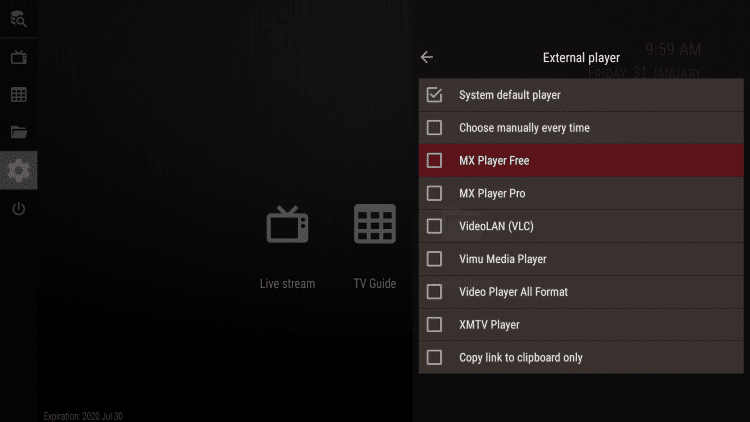 You will then notice the different external player options available. Choose MX Player Free,