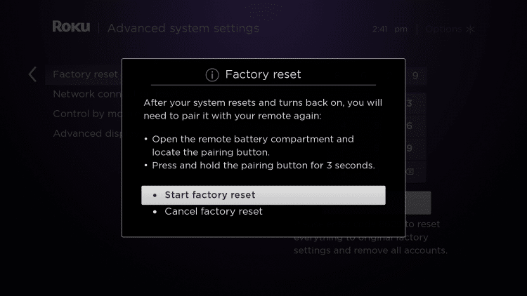 This message will then appear. Choose Start factory reset.