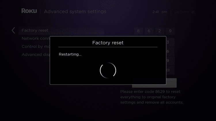 Wait a few minutes for your Roku device to reset.