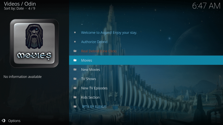 Launch the Odin Kodi Addon.
