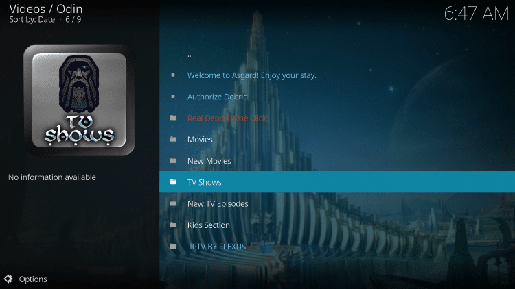 odin kodi addon categories